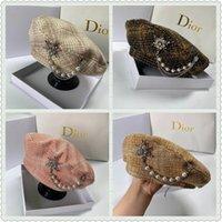 Luxus-Diamant-Dekoration-Barett-Hut für Frauen Französisch Designer Baret Cap mit Perlen Verschönerung Plaid Painter Octagonal Hüte 201113