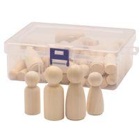 50 pz / scatola Mix Size 33mm 43mm 53mm 65mm Bambola di legno Bambola di legno FAI DA TE Pittura di legno allentato perline di legno ragazzi ragazze graffiti giocattoli