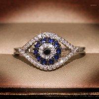Punk femenino azul cristalino anillo encanto zircon color plateado anillos de boda para las mujeres delicado delicado ojo malvado hueco anillo de compromiso1