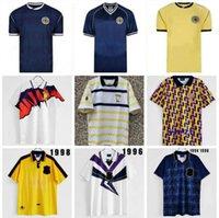 1991 اسكتلندا الرجعية لكرة القدم جيرسي كأس العالم معدات المنزل أطقم أزرق 96 98 الكلاسيكية خمر اسكتلندا كرة القدم قميص قمم هنري لامبرت