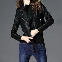Nueva chaqueta de cuero Mujeres corta coreano ropa de cuero PU Velvet Pink Black Biker Jacket Plus Tamaño Perfecto Cuir Femme 201030