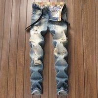 Herren Ripping Jeans europäischer und amerikanischer Stil neue Jugend Retro alte hellfarbene ausgefranste Hosen gerade Hosen