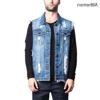 Allthemen chaleco chaleco vaquero chaqueta sin mangas para hombres Denim Jeckets Hip Hop causal jean abrigos chaleco para hombres