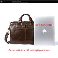 "For Macbook Office Bag 14"" Computer Document Bag Messenger Male Genuine Leather Laptop Bags OYIXINGER Men Briefcases Men's Bags"