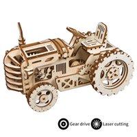 Robotime DIY Móvel Mecânica Modelo de Construção de Kits por Clockwork Brinquedos De Madeira Presentes Trator LK401 para Dropshipping LJ200928