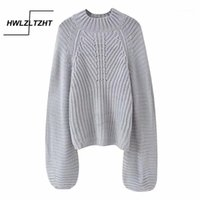 Camisolas femininas Hwlzltzht mulheres 2021 moda roupas soltas pulôver quente inverno jumper macio femme kitwear lanterna manga sweter women1