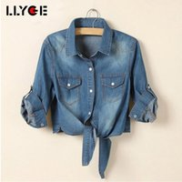 Lyge Damen Kurzarm Denim Fliege Bluse Sommer Crop Top Casual Down Collar Kurz Tops Coole Frau Sexy Verband Hemd1