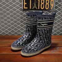 Neue Damen Herbst Winter Schneeschuhe, Hanfseilsohlen, vorschuled Bestickte Lammfeder Ankle Stiefel, flache Baumwollstiefel Leder