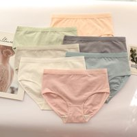 Women Briefs Cotton Sexy Sports Panties Mid- Waisted Soft Sol...