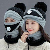 Inverno donne Cap con maschera collo copertura maglieria calda lana Berretti Skullies Cappello Set Collare Caps maglia esterna Ciclismo Cappelli LJJP783