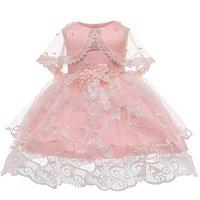 아기 소녀 드레스 꽃 Christening 가운 2020 신생아 아기 소녀 년 생일 Vestido Bowknot 작은 아기 투투 드레스 LJ201223