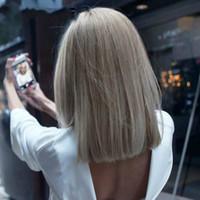Mixte Gris Cendré Noir Rose droite 14 pouces perruques synthétiques pour cheveux cosplay femmes noires perruques résistant à la chaleur fibre