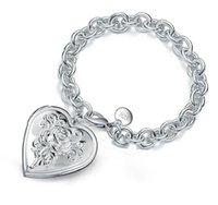 Mode Mann Frau plattieren 925 Silber Herz Fotorahmen Armband Einfache Zubehör Beste Freund Birthday Anwesende Marke 925