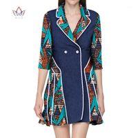 2020 새로운 아프리카 Dashiki 여성 드레스 턴 다운 칼라 숙녀 옷 플러스 크기 아프리카 프린트 드레스 여성 5XL 일반 WY28171