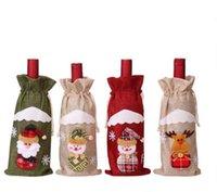Nuevo Decoraciones de Navidad Red Wine cubierta de la botella bolsas de regalo de Santa Claus Bolsas de vinos de Champagne Bolsa de Navidad decoración del hotel
