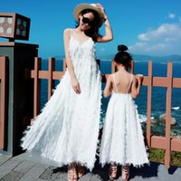 Ppxx Bianco Frangia Lace Girl Dress Dress Donne Delle Donne Delle Donne lunghe Parti di nozze Madre Figlia Dresses Famiglia Abbigliamento Abbigliamento Famiglia LJ201111