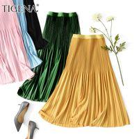Tigena Elegant Slim Midi Rock Frauen Koreanische Mode Knielange Eine Linie Elastische Hohe Taille Falten Rock Weibliche Gelb grün Rosa Y1214