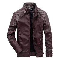 Jaquetas masculinas Idoy Couro Inverno Fleeced Fured Fured Motorcycle Biker Casaco Revestido Collar Colar Outerwear para Masculino Plus Size