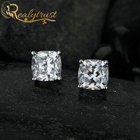 Reaytrust Trendy 2CT cuscino ad alto contenuto di carbonio orecchini diamantati ad alto contenuto di carbonio per le donne di nozze di fidanzamento orecchini orecchini regalo di compleanno