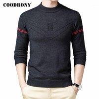 Erkek Kazakları Coodrony Marka Kazak Erkekler Giyim 2021 Sonbahar Kış Triko Sıcak Kazak Moda Çizgili Rahat O-Boyun Çekin Homme C11521