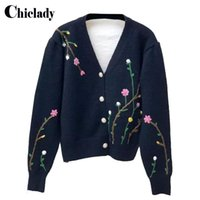 CHICLADY winter cardigan women patchwork V-neck single breasted long sleeve flower embroidery cut sweet knitted sweter damski