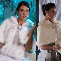 Новая дешевая цена на зиму В наличии Белая IVORY Faux Mur с MUFF, куртка свадьба свадебные свадебные обертывания теплые женские шашки шали бесплатная доставка