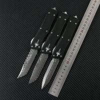 Microtech Combat Traheon Couteau Damas Blade T6-6061 Alliage d'aluminium Camping en plein air Couteau tactique Tactique EDC Outil Couteau automatique Couteaux de poche