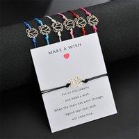Мода зарабатывайте желание браслеты милый лотос цветок очарование с картой красный синий черный белый веревка веревки браслет DIY украшения ручной работы GIF 168 O2