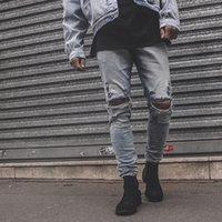 Diz Deliği Sıkıntılı Yıkanmış Jeans Erkekler Için Streetwear Düz Gevşek Mavi Kot Pantolon Büyük Boy Mavi Kalem Pantolon