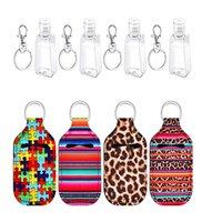 New Neoprene Softball Printing Keychains Hand Sanitizer Bottle Portable Mini Bottles Holders Keyrings Party Favor Keychain rectangle