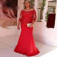 Red Boat Neck Straight Elegant Prom Dress Long Full Sleeve Appliques Lace Back Zipper Vintage Formal Evening Dresses