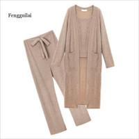 Printemps New Femme Sling Cardigan Cardigan Costume Femme Coréen Pantalon en vrac trois pièces 201007