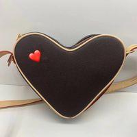 رسالة قلب حقيبة السيدات وكتف حقيبة رسول حقيبة الكلاسيكية M45419 شكل قلب مصنوع من قماش 3 ألوان منقوش الحجم 22 حقيبة