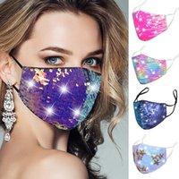дизайнер маска Sequined хлопка маски для лица дизайнер взрослых цветных бриллиантовых масок мужчины женщина пыла дышащего ухо смонтированной маски в наличии
