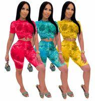 2020 Casual Women's Summer Summer Sets Outfits 2pc Tie-Dye Impresión de manga corta Top + Pantalones cortos Traje de gimnasio al aire libre Sets de deportes Traje