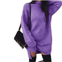 2020 Neue Herbst Winter Frauen Gestrickte Pullover Kleid Warme Langarm Rollkragenpullover Pullover Jumper Weibliche Kleidung Design Styele