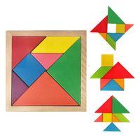 Tangram de madeira colorido 7 pçs / conjunto de jigsaw bloco quadrado IQ jogo inteligente brinquedos educativos melhores presentes para crianças C336