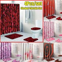 4pcs 전체 세트 샤워 커튼 욕실 세트 3D 인쇄 빨간 장미 꽃 미끄럼 방지 매트 받침대 깔개 + 뚜껑 화장실 180x180cm1