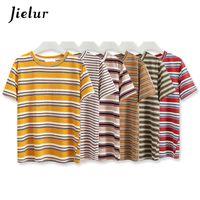 Jielur 6 Colori estivo a righe maglietta Hit Loose Women Harajuku maglietta casuale di base coreano Chic Tee Shirt Femme Dropship Y200930