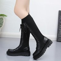 Dropshipping Autumn Women Black Elastic Knitted Knee High Boots Female Platform Long Boots Fashion Cross Tied Patchwork Shoes