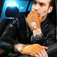 Men Deerskin Fashion Gloves 2020 Wrist Half Finger Driving G...