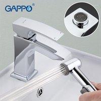 Gappo Deck Mounted Wasin Faucet Sólido Latón Chrome Plateado Pulido Fregadero Mezclador Grifo con pulverizador de bidé Gaucet1