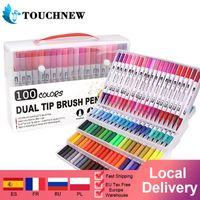 Touchnew Tual Tip فرشاة ماركر أقلام فينيلينر أقلام مائية الرسم ماركر لتلوين 201102