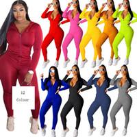 Femmes Casual couleur unie deux pièces Set Survêtement festival Vêtements Automne Hiver Haut + Pantalon survêtements Neon 2 pièces Tenues Assortiments