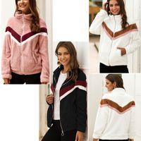 Escudo de maternidad de las mujeres capa del invierno Sherpa Fleece lujo de piel de la cremallera de la chaqueta de cuello alto Moda Hoodies del color del contraste de la raya del paño Outwear LY1020