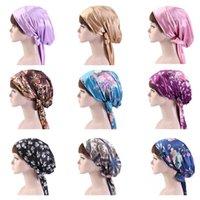 Mode Damen Satin Blumenbogen Kopftuch Turban Hairwear Frauen weichen Schlaf Bonnet Haar wickeln Frauen Cap Beanies Skullies
