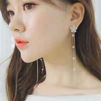 2020 Moda Uzun Küpe Zirkon Çiçek Sakura Kalp Dangle Bırak Küpe Kadınlar Kız Zincir Püskül Küpe Parti Jewelry1