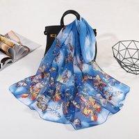 Sommer dünne Chiffon Beach Sonnencreme Schals Schal Mode Schmetterling Druck Seidenschal Damen Lange Tüll Turban Hijab Wrap N691