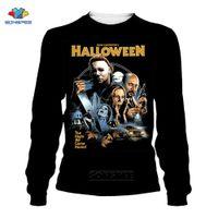 SONSPEE Horror Pennywise Michael Myers Jason Mne's Sweatshirt Halloween Crewneck Streetwear Autumn Sport Pullover Women Tops 201021