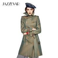Jazzvar جديد المرأة القطن للماء طويل الكلاسيكية مزدوجة الصدر كنسينغتون التراث خندق معطف أعلى جودة 201031
